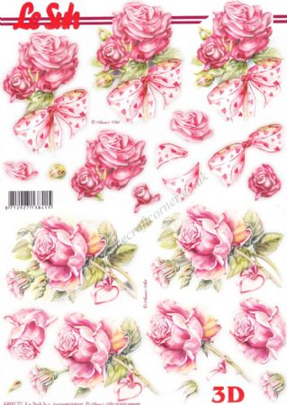 Pink Roses Tied With Love Heart Decorated Ribbons Die Cut 3d Decoupage Sheet From Le Suh